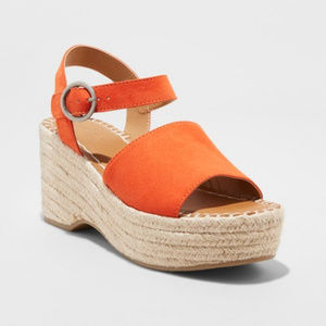 Morgan Two Piece Espadrille Wedge Coral